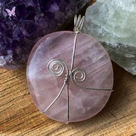 Rose Quartz Palm Stone Silver Wire Wrapped Pendant